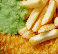 Calories in fish and chips for Serving size of fish